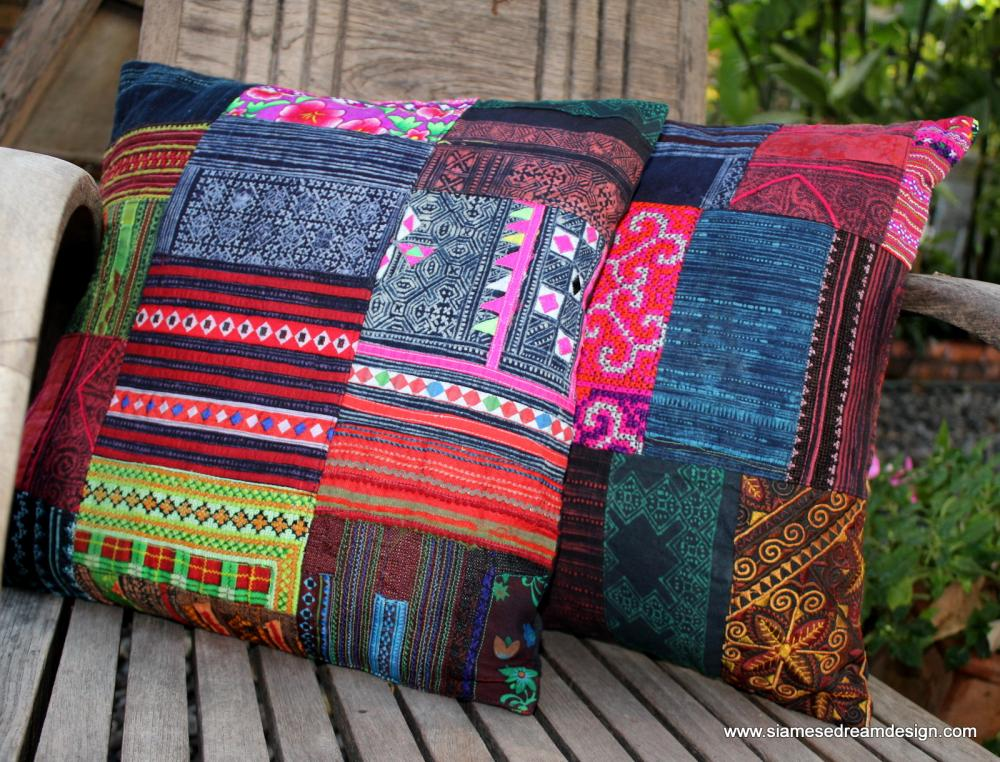 Well-known Patchwork Pillow Cushion Cover In Colorful Vintage Hmong  CC79