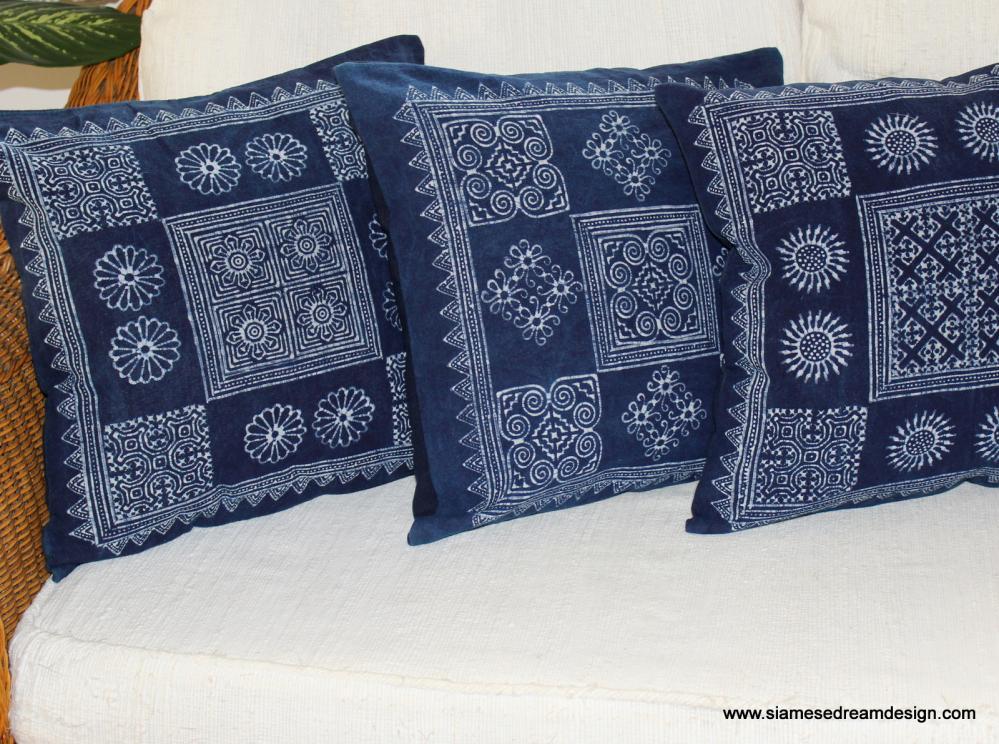 Hmong Pillow Cushion Cover in Natural Indigo Batik 3 Styles