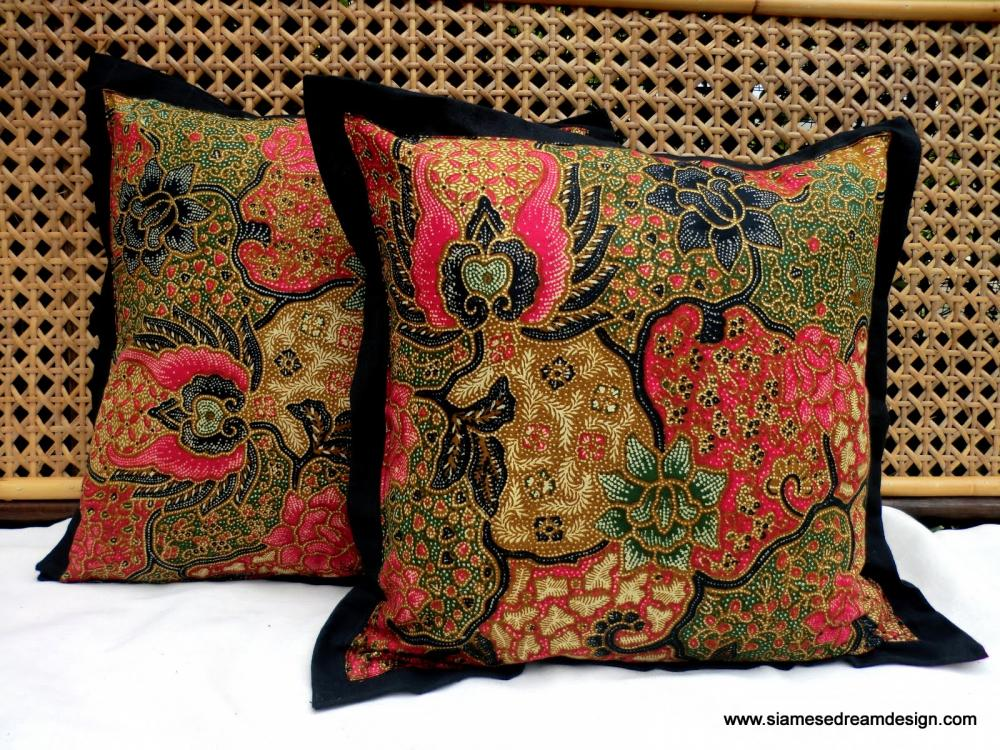 Balinese Batik Pillow/Cushion Cover In Colorful Rose Pink and Green 16 inch, Set of 2