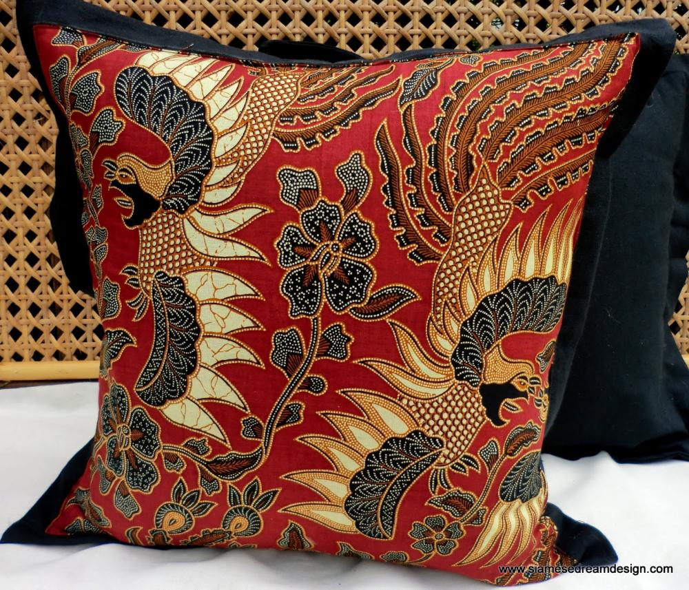 Balinese Batik Pillow / Cushion Cover Exotic Birds In Brick Red Cream and Tan, Set of 2