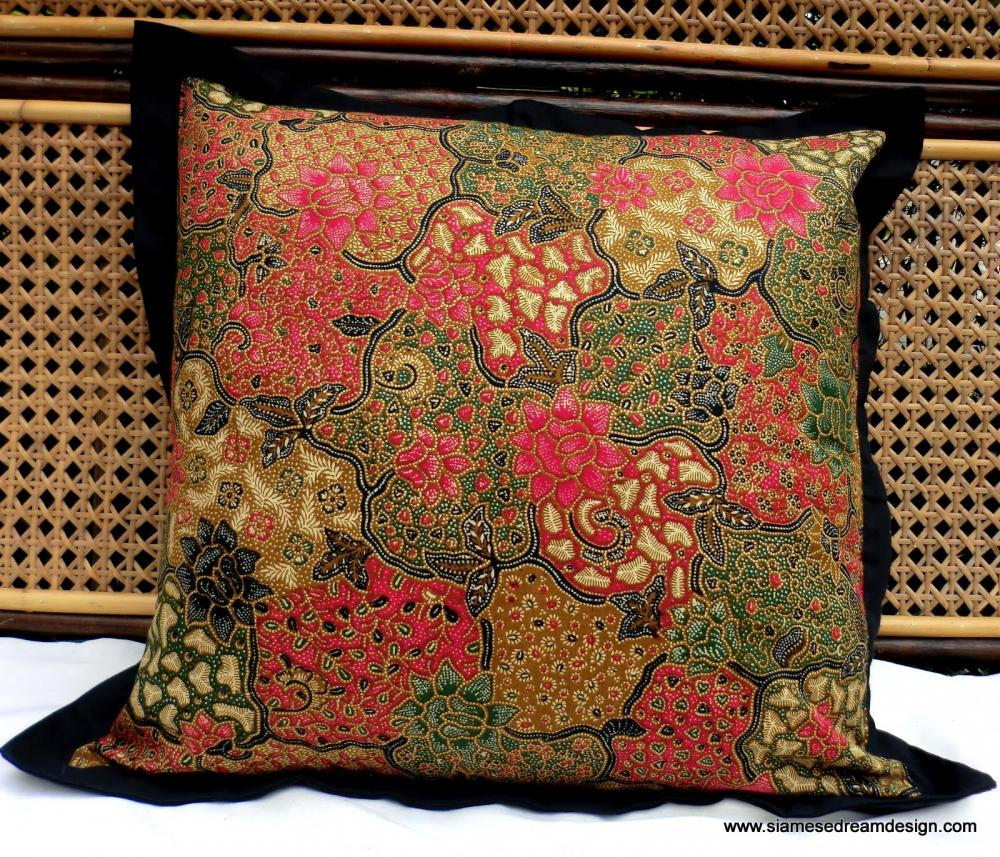 XL Floor Pillow or Cushion Cover in Colorful Natural Balinese Batik Rose Pink and Green 24 inch