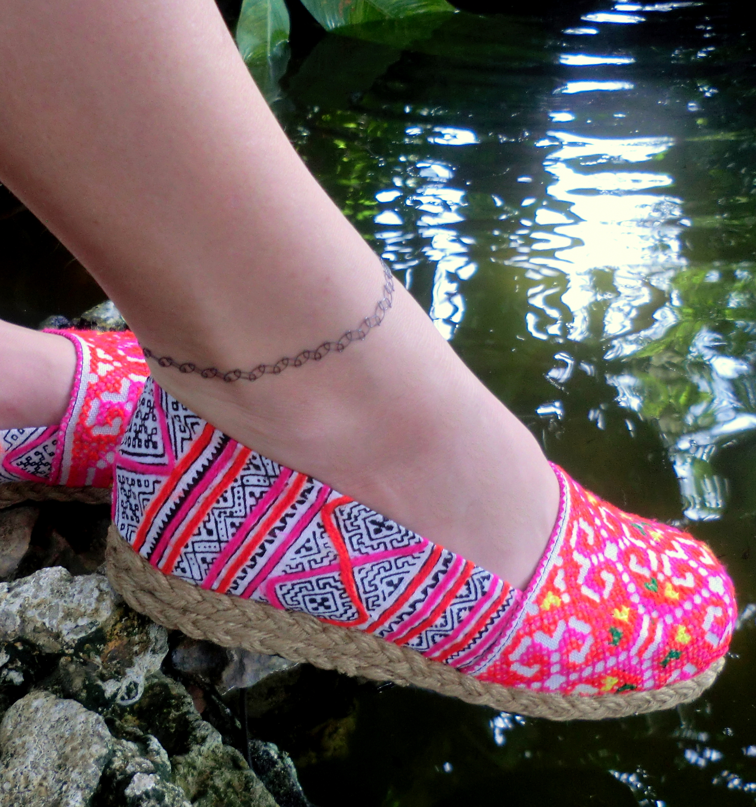 0812135005302 Womens Vegan Loafer Shoes In Colorful Hmong Embroidery & Batik